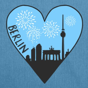 Berlin by night, heart, city, I love, Silhouette - Shoulder Bag made from recycled material