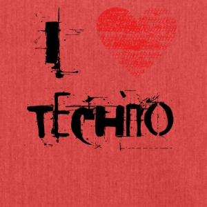 I Love Techno Goa favorables Hardtek negro - Bandolera de material reciclado