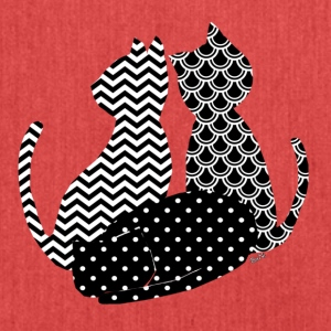 Cats black and white - Shoulder Bag made from recycled material