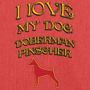 I LOVE MY DOG Doberman Pinscher - Shoulder Bag made from recycled material