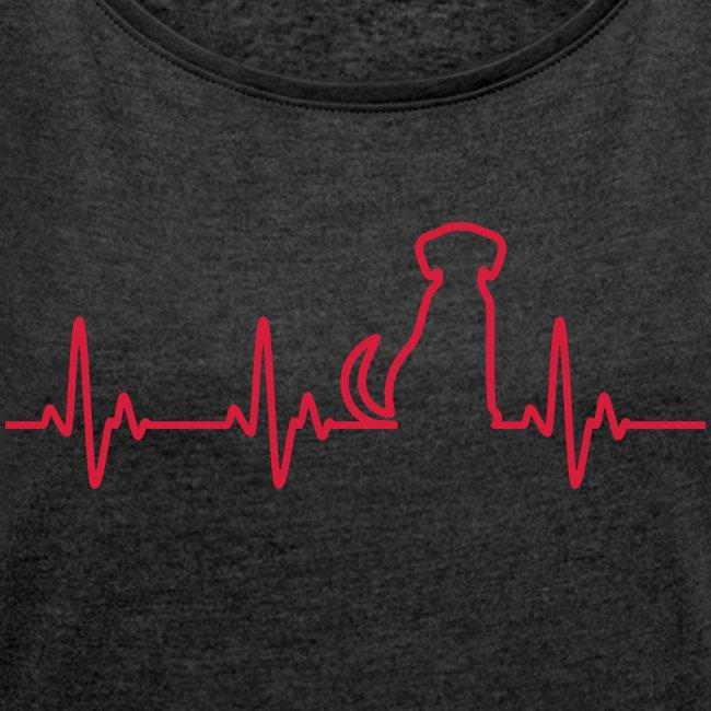Vorschau: Hunde Herz - Frauen T-Shirt mit gerollten Ärmeln
