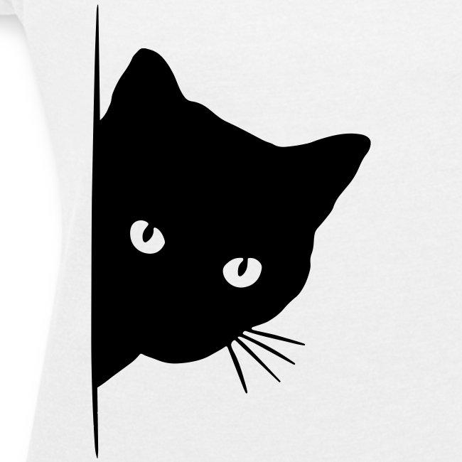 Vorschau: peeking cat - Frauen T-Shirt mit gerollten Ärmeln