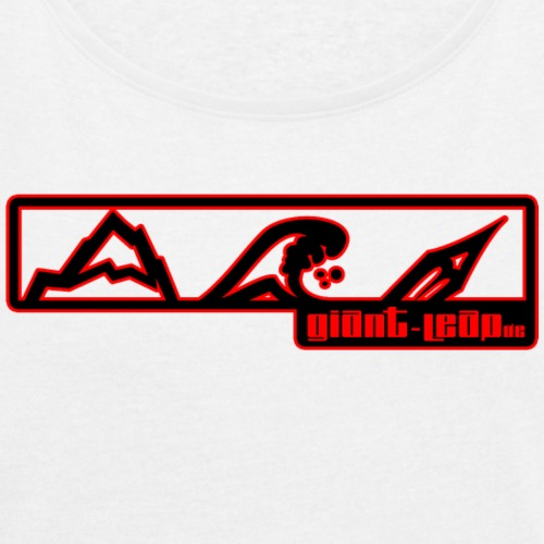 bergwasserkunst uni final rotschwarz dru - Frauen T-Shirt mit gerollten Ärmeln