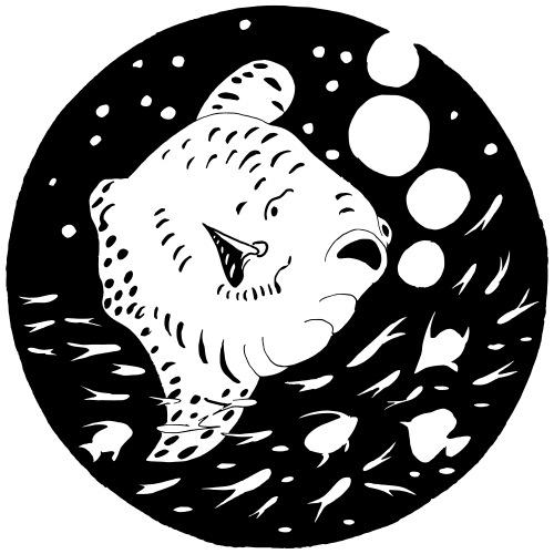 Mondfisch Big Fisch Illustration Geschenk - Frauen T-Shirt mit gerollten Ärmeln