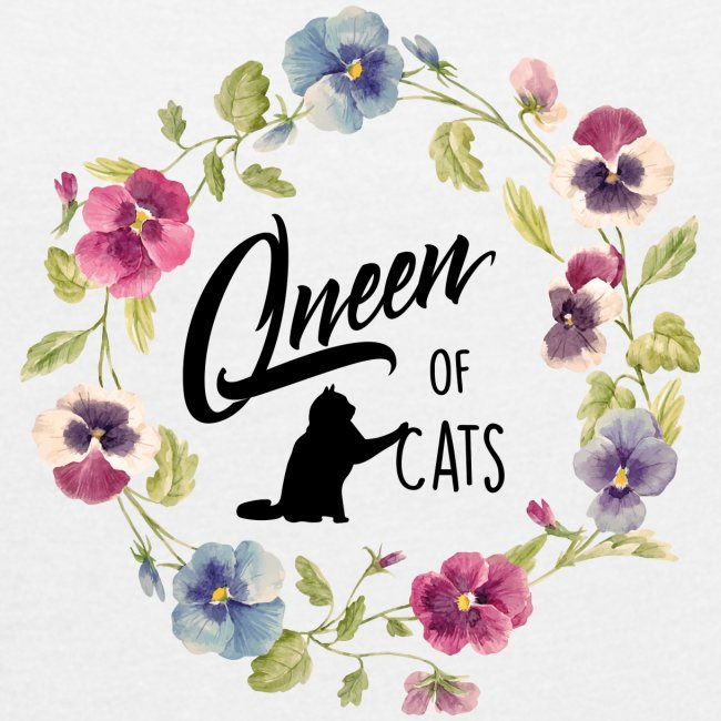 Vorschau: queen of cats - Frauen T-Shirt mit gerollten Ärmeln