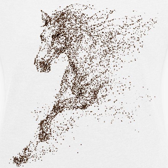 Vorschau: Pixel Horse brown - Frauen T-Shirt mit gerollten Ärmeln