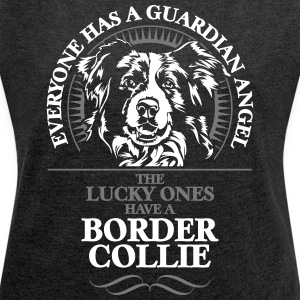 GUARDIAN ANGEL BORDER COLLIE - Women's T-shirt with rolled up sleeves