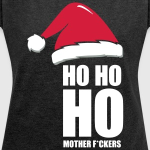 Adult Christmas Design, Ho Ho Ho - Women's T-shirt with rolled up sleeves