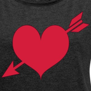 red heart - Women's T-shirt with rolled up sleeves