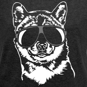 Shiba Inu cool - Women's T-shirt with rolled up sleeves