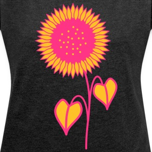 Sunflower pink - Women's T-shirt with rolled up sleeves