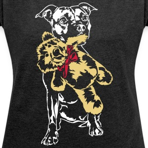 Staffordshire with Teddy - Women's T-shirt with rolled up sleeves