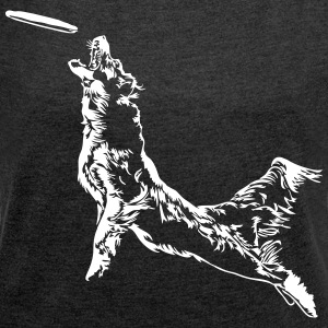 Disc dog Dog Frisbee - Women's T-shirt with rolled up sleeves