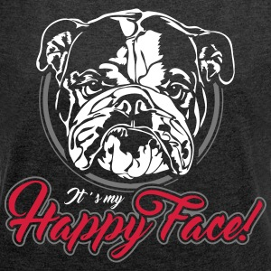 English Bulldog happy face 2 - Frauen T-Shirt mit gerollten Ärmeln