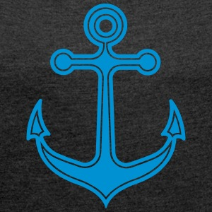 Anchor, sailing, sailboat, captain, boat, home, - Women's T-shirt with rolled up sleeves