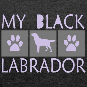 black lab - Women's T-shirt with rolled up sleeves