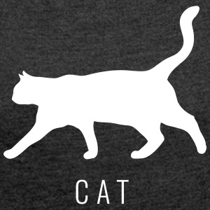 Cat - Cat lettering with cat - Women's T-shirt with rolled up sleeves