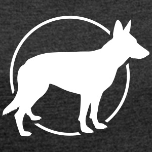 Shepherd dog silhouette with circle - Women's T-shirt with rolled up sleeves