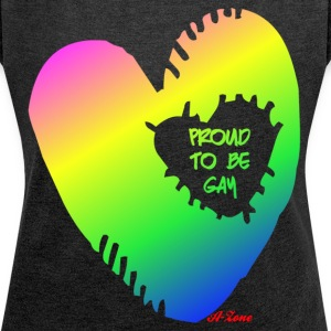 Gay Heart - Women's T-shirt with rolled up sleeves