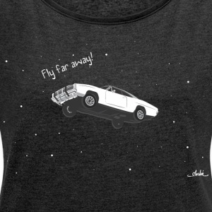 flying car - Women's T-shirt with rolled up sleeves