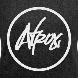 Atrox Logo White Transparent - Women's T-shirt with rolled up sleeves