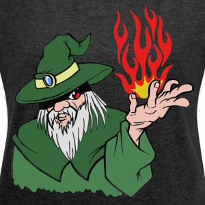 Willpower Wizard Green / Red Flame - No Text - Women's T-shirt with rolled up sleeves