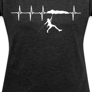 I Love Climbing Gift Idea - Order Here - Women's T-shirt with rolled up sleeves