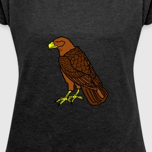sitting raptor - Women's T-shirt with rolled up sleeves