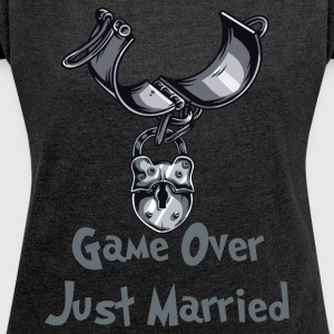 Game Over Just Married - Women's T-shirt with rolled up sleeves