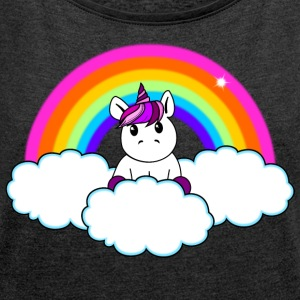 Rainbow Unicorn - Women's T-shirt with rolled up sleeves
