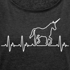 Heart for Unicorns - Women's T-shirt with rolled up sleeves