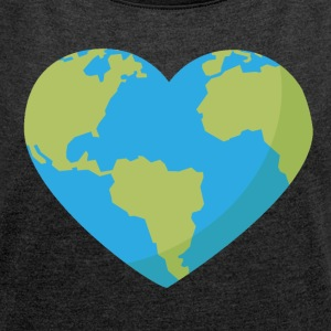 World in Heart Shape - Women's T-shirt with rolled up sleeves