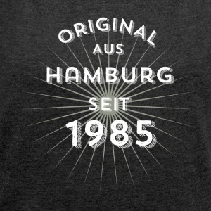Original from Hamburg since 1985 - Women's T-shirt with rolled up sleeves