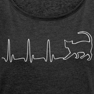 ECG HEART LINE CAT white - Women's T-shirt with rolled up sleeves