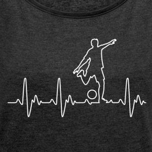 Heart for Soccer - Women's T-shirt with rolled up sleeves
