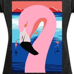 Sunset Flamingo - Women's T-shirt with rolled up sleeves