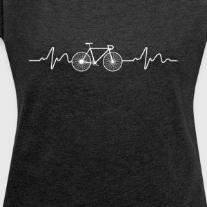 Heartbeat bike - Women's T-shirt with rolled up sleeves