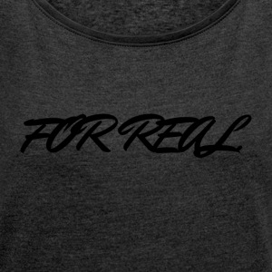 FOR_REAL - T-shirt med upprullade ärmar dam