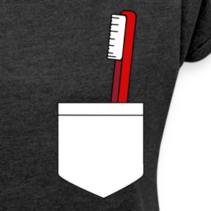 toothbrush pocket - Women's T-shirt with rolled up sleeves