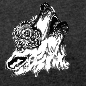 Floral Wolf - Women's T-shirt with rolled up sleeves