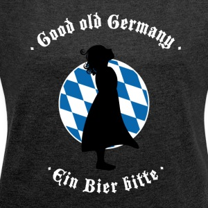 beer bayern oktoberfest germany flag girl blauwei - Women's T-shirt with rolled up sleeves