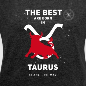 taurus bull zodiac horoscope signs astrology - Women's T-shirt with rolled up sleeves