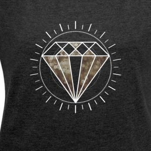 diamond diamond Icon Star noble Gamer Level sun - Women's T-shirt with rolled up sleeves