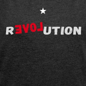 revolution star Love demonstartion - Frauen T-Shirt mit gerollten Ärmeln