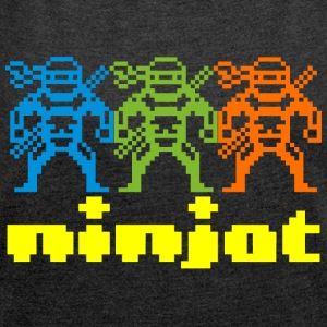Ninjas + ninja text - Women's T-shirt with rolled up sleeves