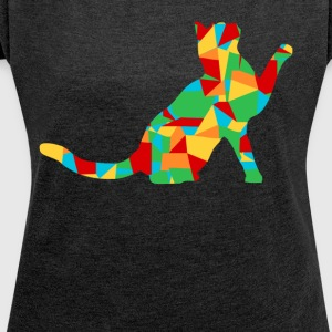polygon cat - Women's T-shirt with rolled up sleeves