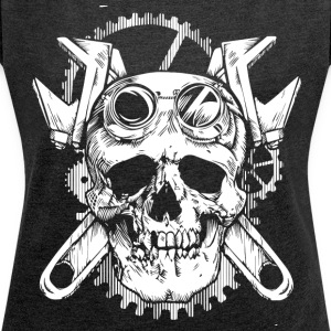 World Of Skulls! - Women's T-shirt with rolled up sleeves