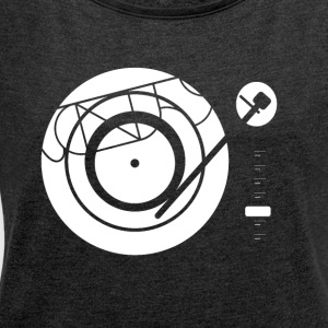 Kynda Music Turntable with - Women's T-shirt with rolled up sleeves