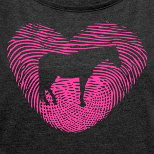 Fingerprint Heart Horse Love Horse Love - Women's T-shirt with rolled up sleeves
