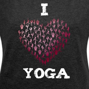 yoga i love heart red yogis namaste budda meditati - Women's T-shirt with rolled up sleeves